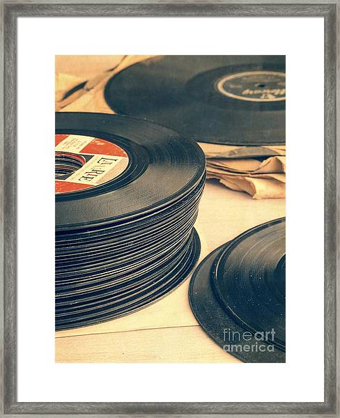 Framed Print featuring the photograph Old 45s by Edward Fielding