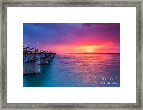 Old 7 Mile Bridge Sunset Framed Print