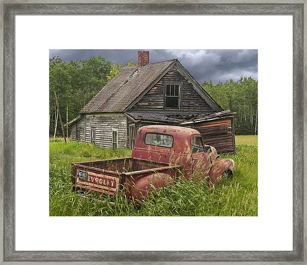 Old Abandoned Homestead And Truck Framed Print