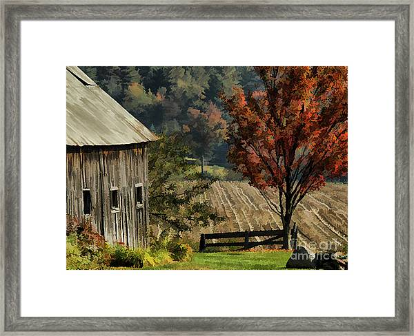 Old Barn And Field Framed Print