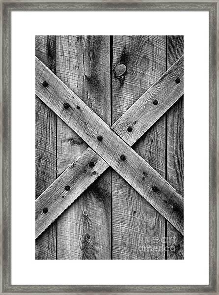Old Barn Door In Black And White Framed Print