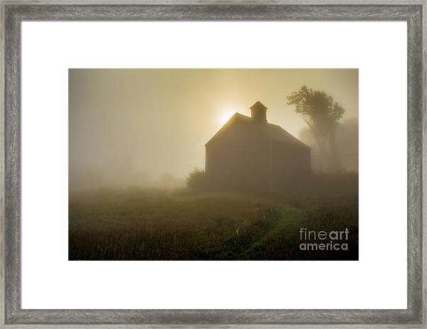 Old Barn Foggy Morning Framed Print