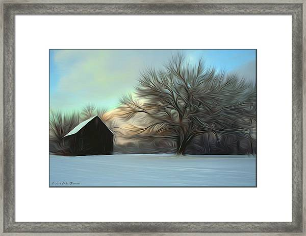 Old Barn In Snow Framed Print