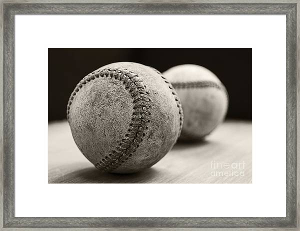 Framed Print featuring the photograph Old Baseballs by Edward Fielding