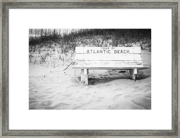 Old Beach Bench Framed Print