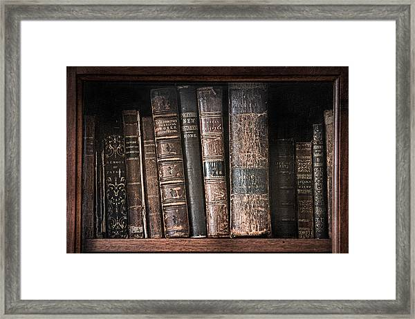 Old Books On The Shelf - 19th Century Library Framed Print