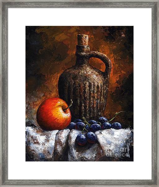 Old Bottle And Fruit Framed Print