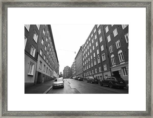 Old Buildings Located At Empty Streets Of Helsinki Finland Framed Print by Tekinturkdogan