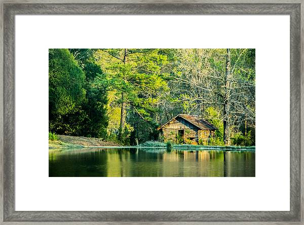 Old Cabin By The Pond Framed Print