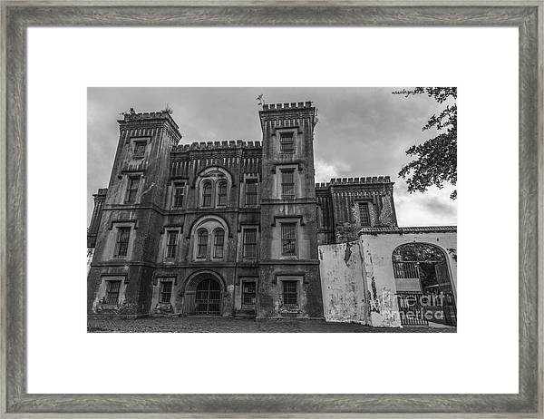Old City Jail In Black And White Framed Print