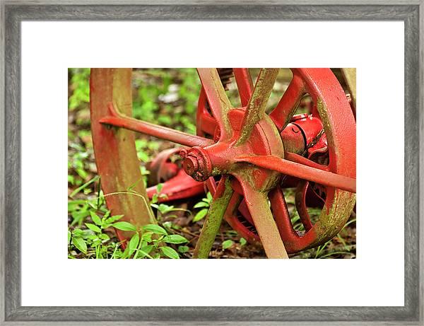 Old Farm Tractor Wheel Framed Print