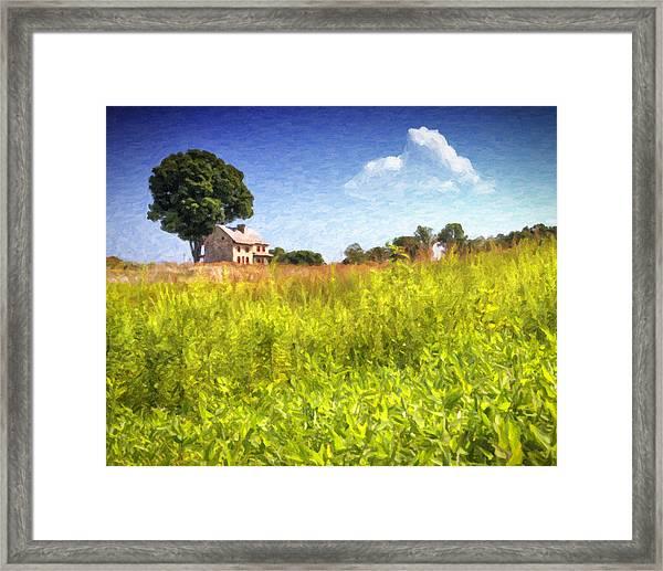 Old Farmhouse On The Hill Framed Print