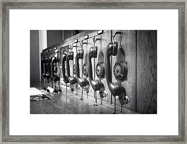 Old-fashioned Wooden Telephone Framed Print