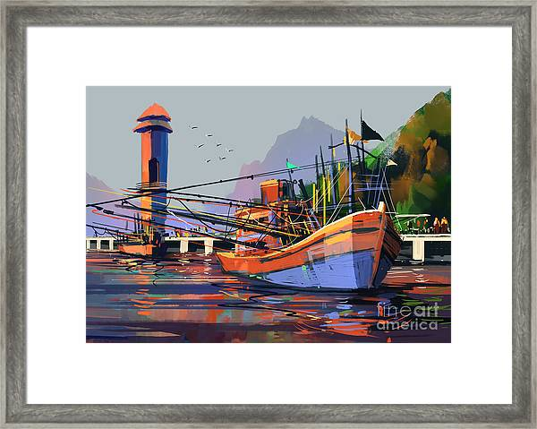 Old Fishing Boat In The Harbor,digital Framed Print