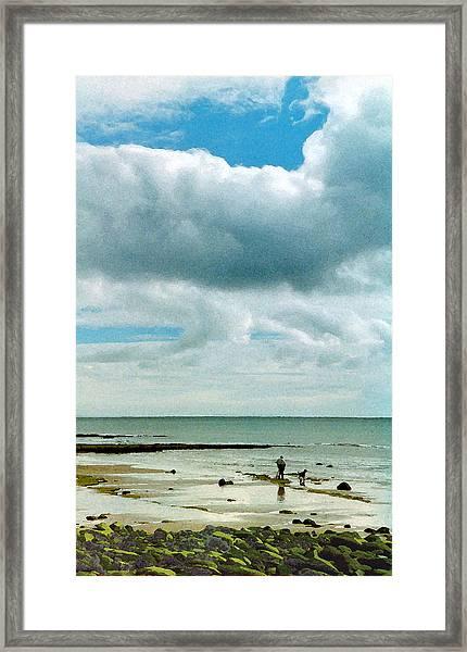 Old Friends Share A Beach Framed Print