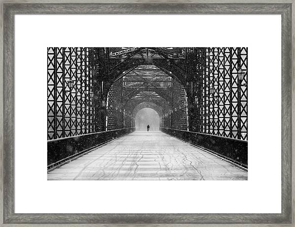 Old Harburg Bridge In Snow Framed Print