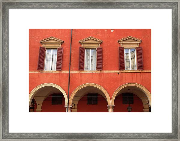 Old House Facade In Modena, Italy Framed Print
