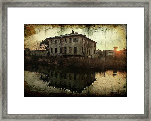Old House On Canal Framed Print