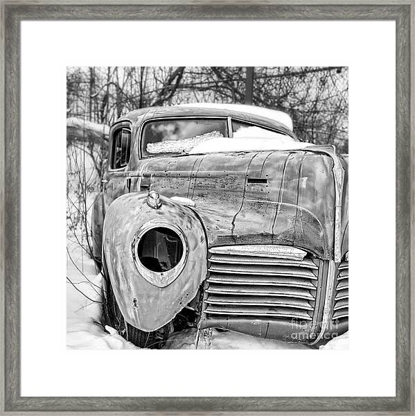 Old Hudson In The Snow Black And White Framed Print