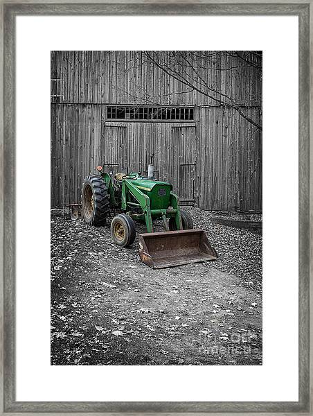 Old Tractor By The Barn Etna New Hampshire Framed Print