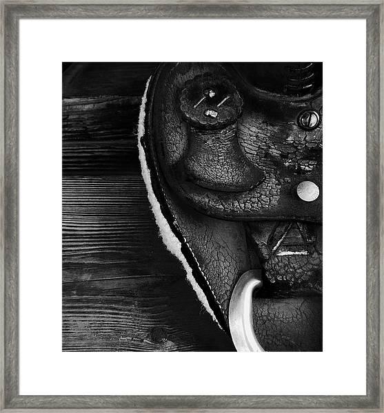 Old Leather - Vintage Saddle In Black And White Framed Print