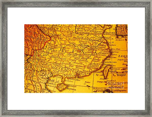 Old Map Of China And Taiwan Framed Print