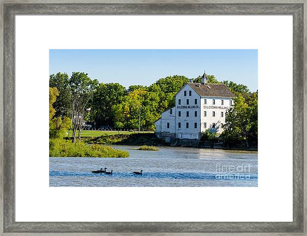 Old Mill On Grand River In Caledonia In Ontario Framed Print