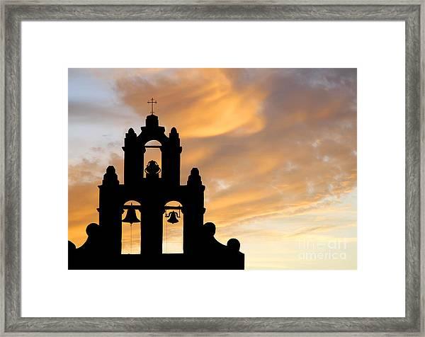 Old Mission Bells Against A Sunset Sky Framed Print