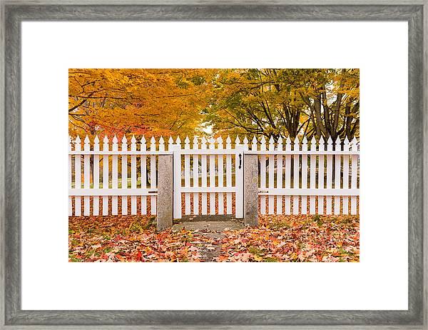 Old New England White Picket Fence Framed Print