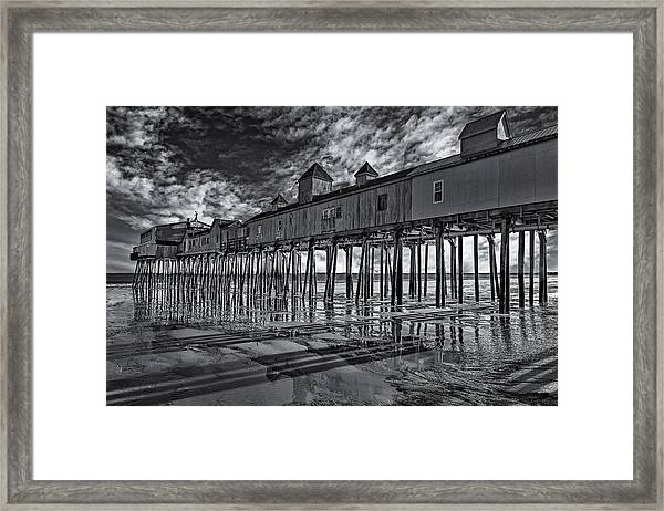 Framed Print featuring the photograph Old Orchard Beach Pier Bw by Susan Candelario
