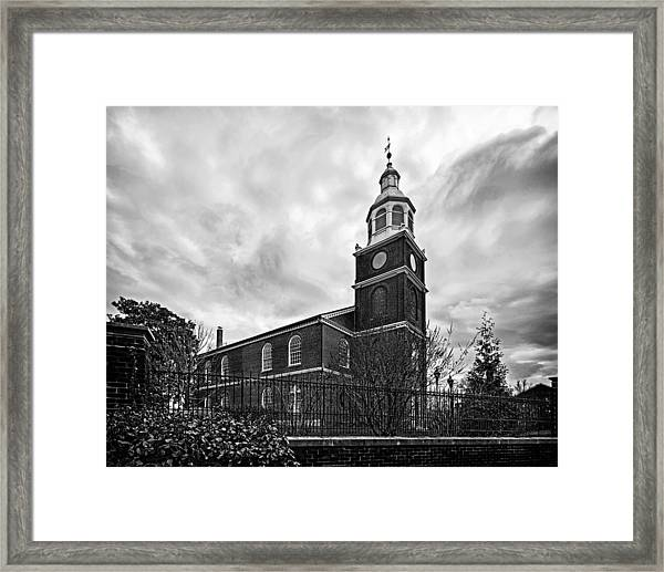 Old Otterbein Church In Black And White Framed Print