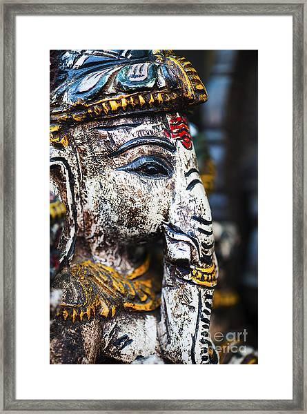 Old Painted Wooden Ganesha Framed Print