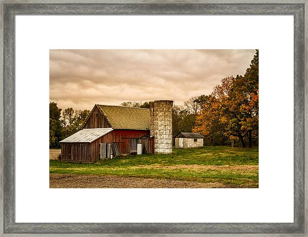 Old Red Barn And Silo Framed Print