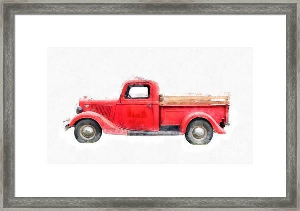 Old Red Ford Pickup Framed Print