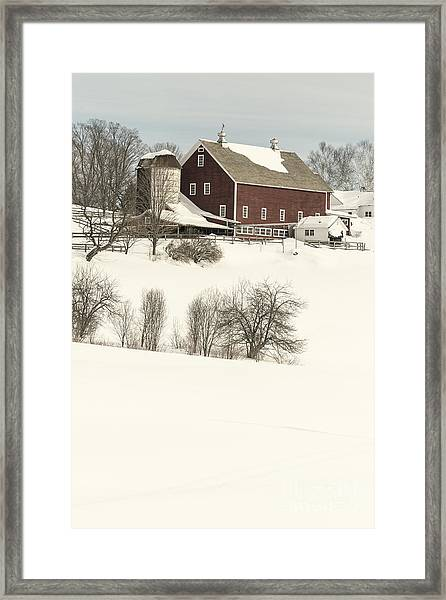 Old Red New England Barn In Winter Framed Print