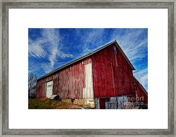 Old Red Wooden Barn Framed Print
