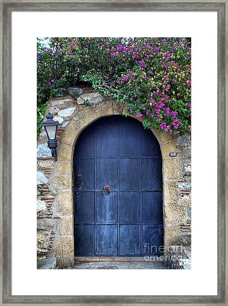 Old Retro Wooden Blue Door Framed Print
