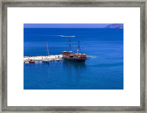 Old Sailing Ship In Bali Framed Print