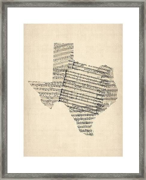 Old Sheet Music Map Of Texas Framed Print