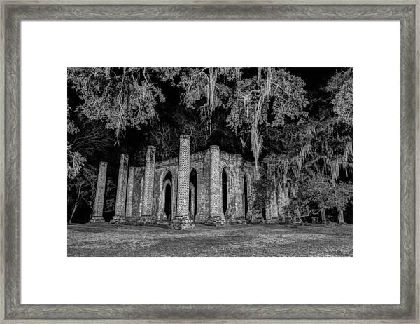Old Sheldon Church At Night Framed Print
