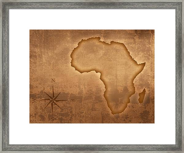 Old Style Africa Map Framed Print