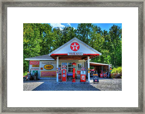 Framed Print featuring the photograph Old Texaco Station by Mel Steinhauer
