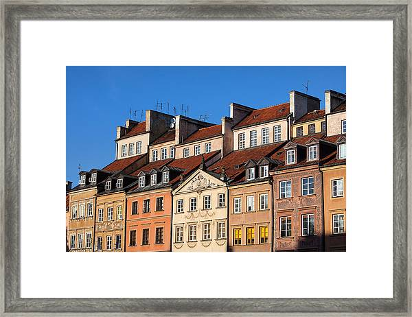 Old Town Tenement Houses In Warsaw Framed Print