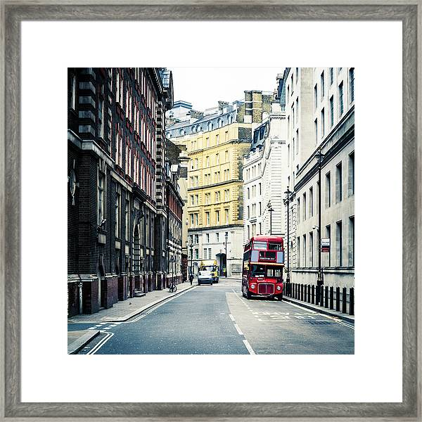 Old Vintage Red Double Decker Bus In Framed Print
