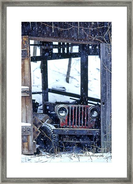 1g25 Old Willys Jeep In Old Barn Framed Print