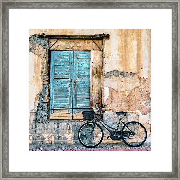 Old Window And Bicycle Framed Print by George Digalakis