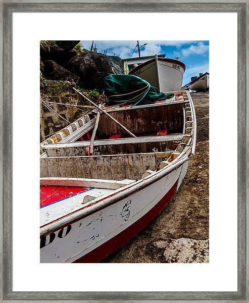 Old Wooden Fishing Boat On Dock  Framed Print
