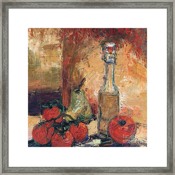 Olive Oil Tomato And Pear Still Life Framed Print