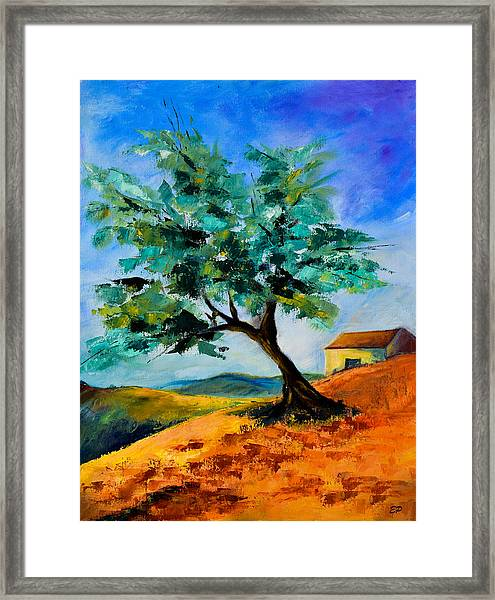 Framed Print featuring the painting Olive Tree On The Hill by Elise Palmigiani