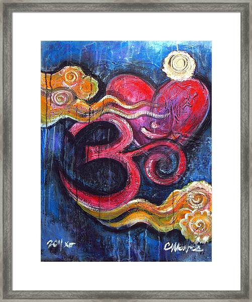 Framed Print featuring the painting Om Heart Of Kindness by Laurie Maves ART